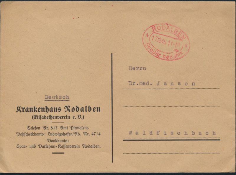 All Besetzung Brief Rodalben Krankenhaus n. Waldfischbach Elipsenstempel Gebühr