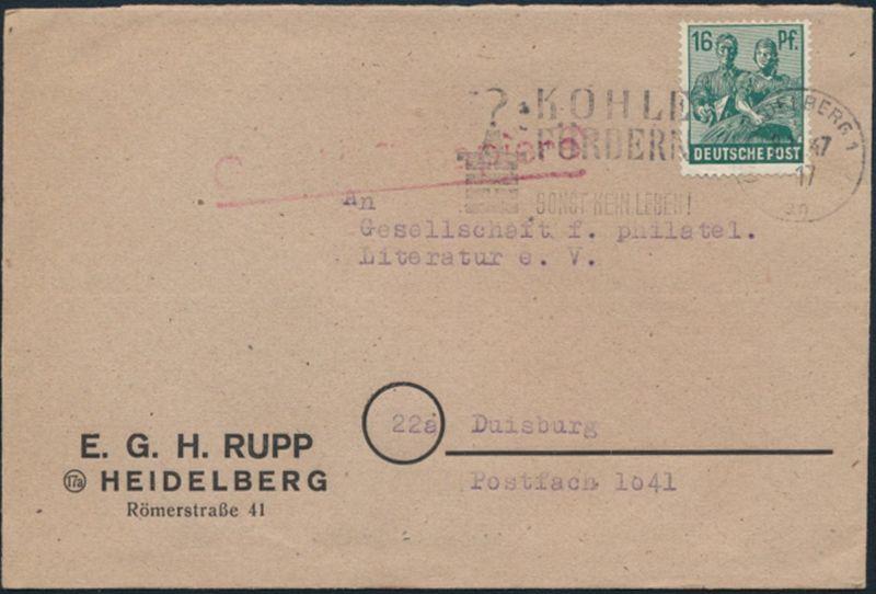 Besetzung Gemeinschaft Kontrollrat Brief 949a Heidelberg Duisburg Zeche Bergbau