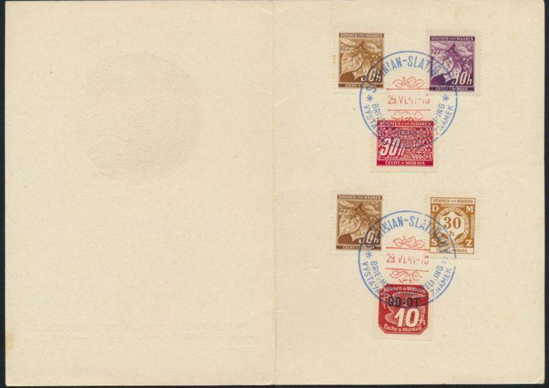Böhmen & Mähren Briefmarken-Ausstellung Slatinian 1941 Tiere Reh Wild