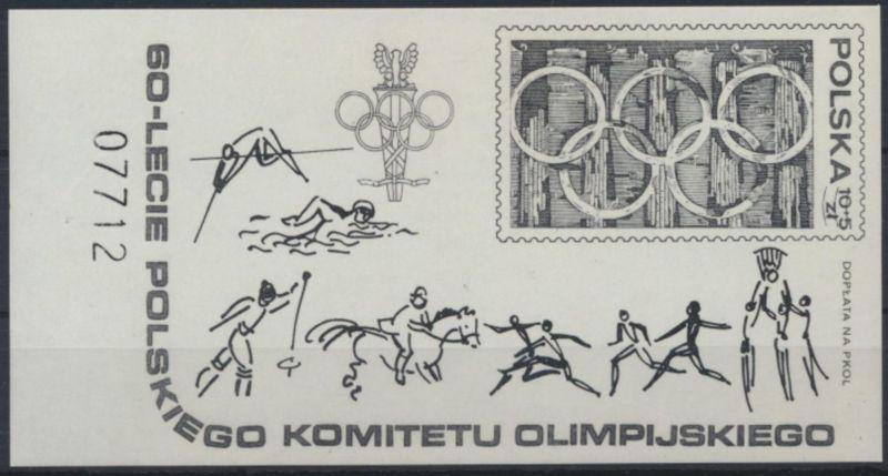 Polen 2628 Block 74 Schwarzdruck Wertziffer durchbalkt Olympia Komitee Sport