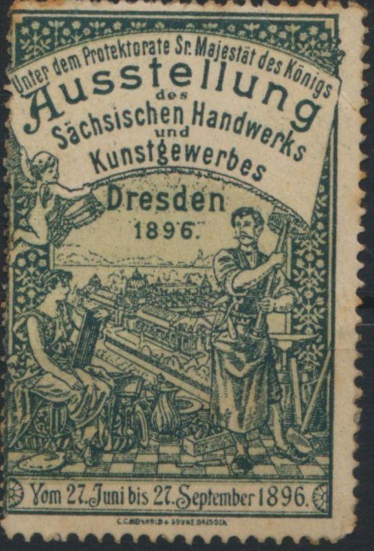 Sachsen Vignette Dresden Handwerk Ausstellung Protektorat Sr Majestät des Königs