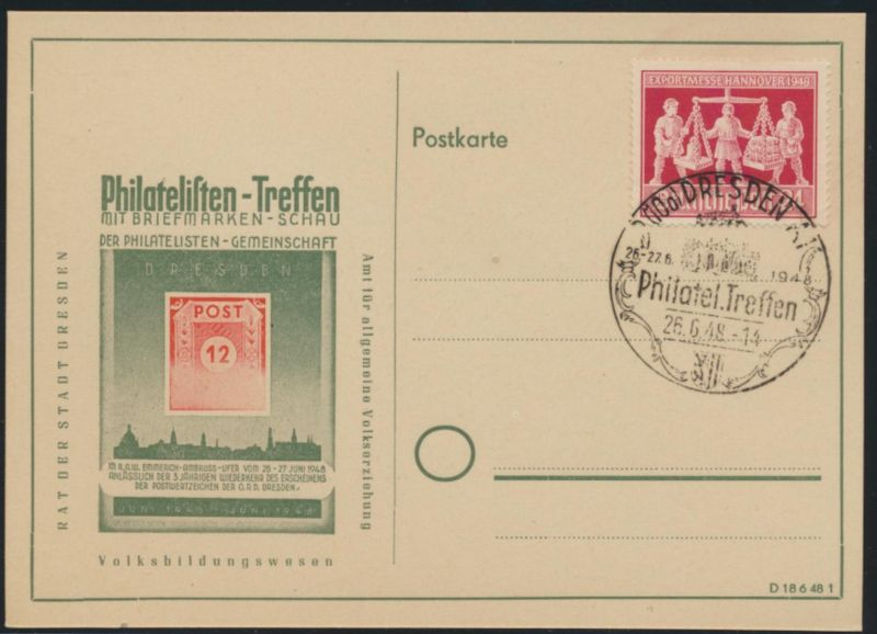 Bizone Sonderkarte Philatelistentrefen Dresden 26.6.1948