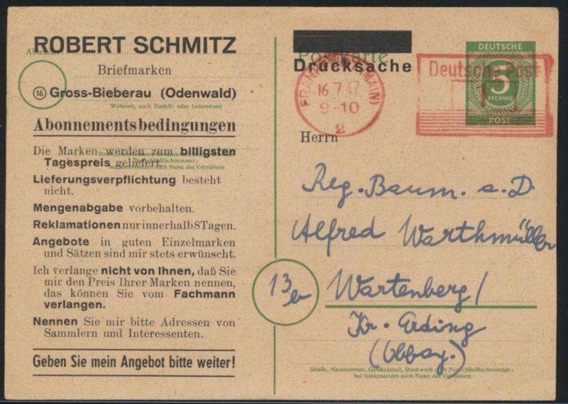 Ganzsache Gemeinschaft 5 Pfg. + Absenderfreistempel 1 Pfg. Frankfurt Wartenberg