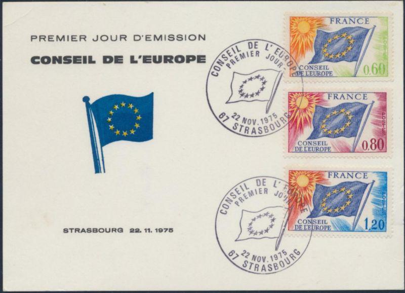 Frankreich Brief Dienstmarke Europarat 16-18 SST Ersttag Straßburg 22.11.1975