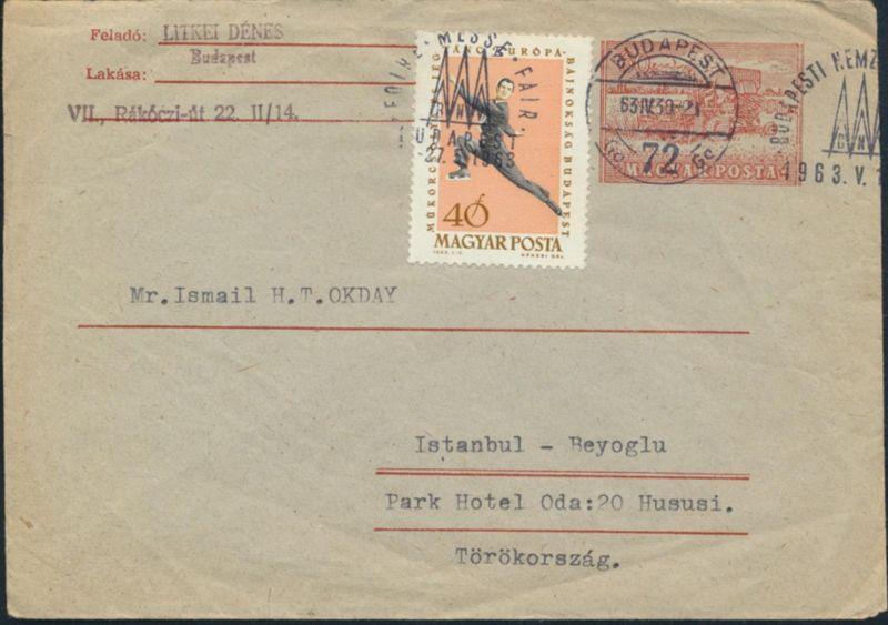 Ungarn Ganzsache U30 ZUF1899 A SST Messe Budapest nach Istanbul 27.5.1963