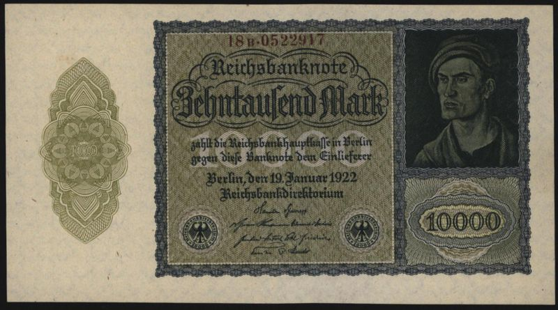 Geldschein Reichsbanknote 10.000 Mark 19.1. 1922 - I.