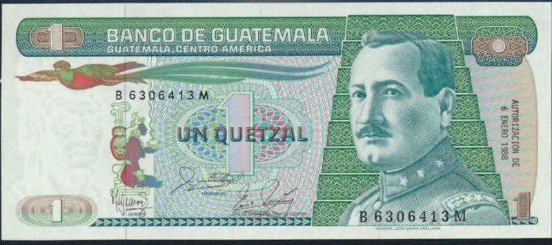 Geldschein Banknote Guatemala 1 Quetzal 1988 P-66 bankfrisch UNC
