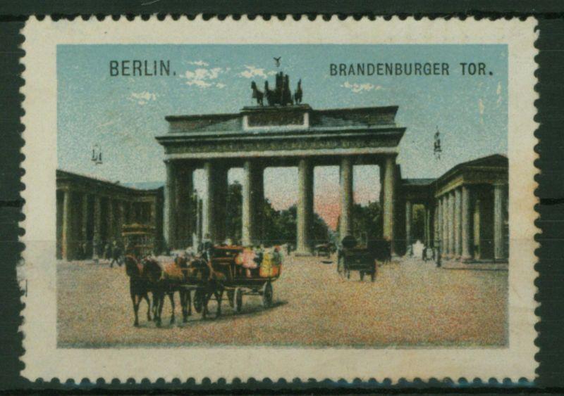 Berlin Brandenburger Tor Reklame Vignette Pferde Fuhrwerk Kutsche