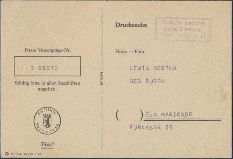 Berlin SW 11 Gebühr bezahlt Vordruckkarte Versorgungsamt nach Mariendorf