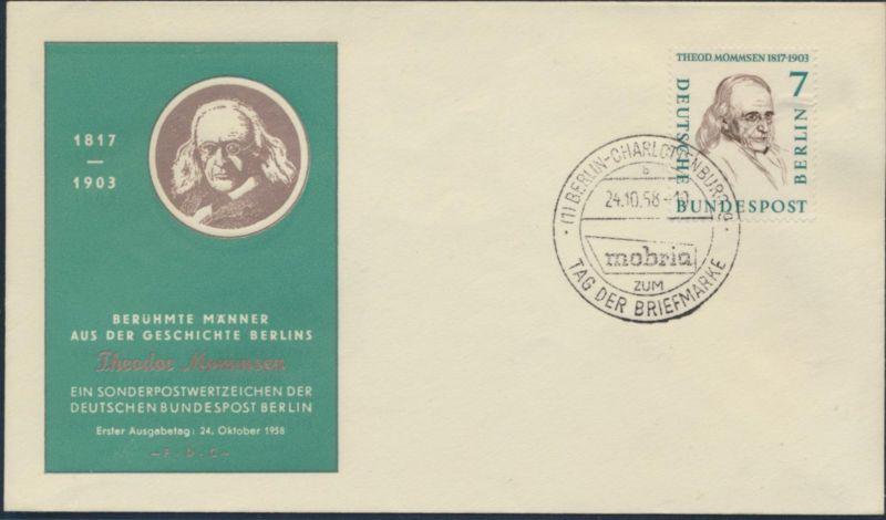 Berlin Brief 163 SST Mobria zum Tag der Briefmarke 24.10.1958 Druck Mommsen