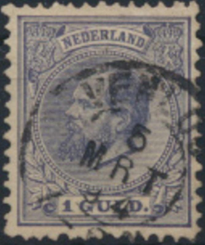 Niederlande 28 gestempelt  1 Gulden König Willem III.