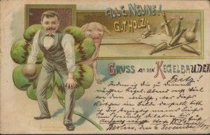 Ansichtskarte Litho Sport Kegeln 1897 von Berlin nach Gevelsberg