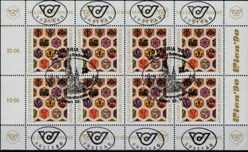Österreich Kleinbogen 1990 Tag der Briefmarke Ersttagsstempel 1990