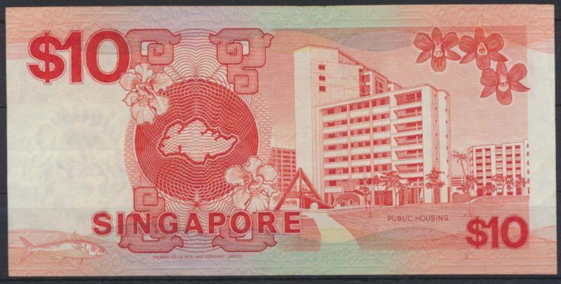 Banknote Geldschein Singapur 10 Dollars 1988 P20 VF