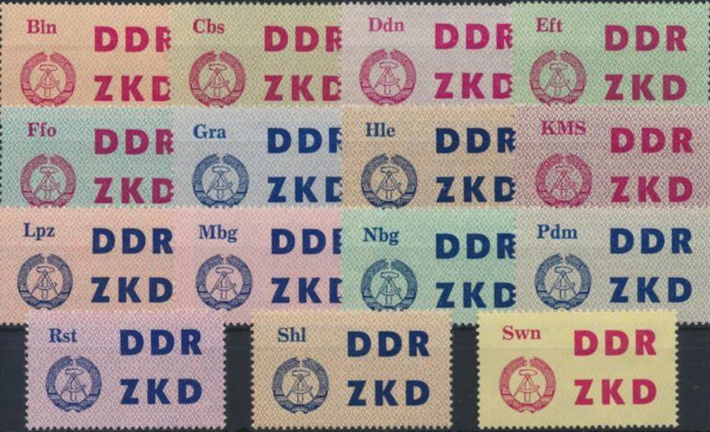 DDR Dienst Laufkontrollzettel 1-15 postfrisch Dienststellen Volkspolizei