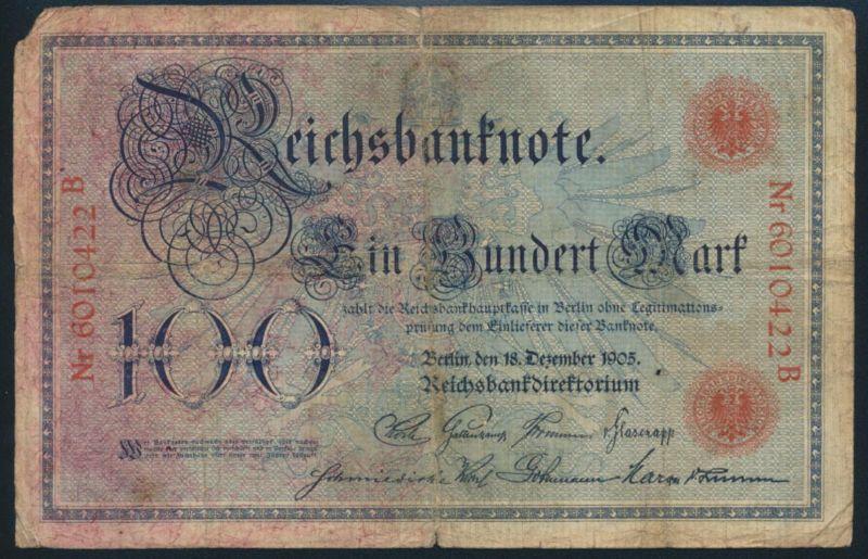 Deutsches Reich Geldschein Reichsbanknote 100 Mark Ro 23a 1905
