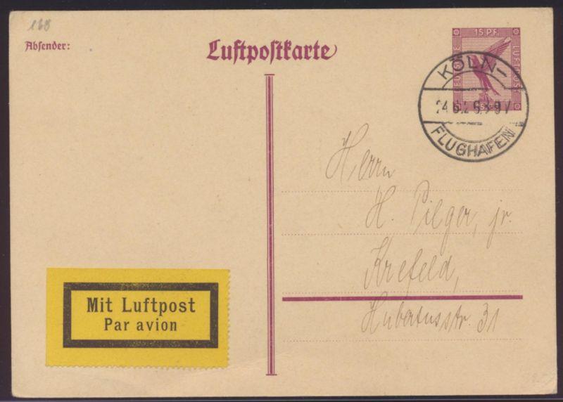 Flugpost air mail Ganzsache postal stationery Köln Flughafen 24.6.1926