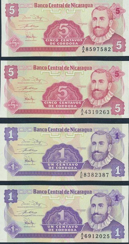 8 Geldscheie Banknoten Nicaragua P167-P170 1990/91 bankfrisch UNC