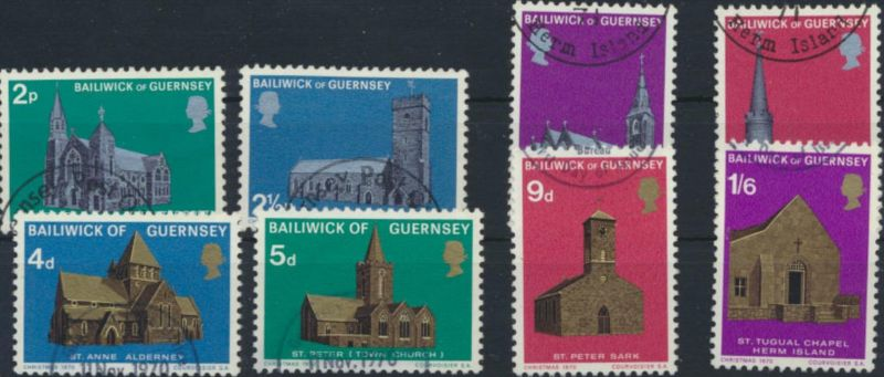Guernsey ex 35-61 Weihnachten Kirche gestempelt 1970