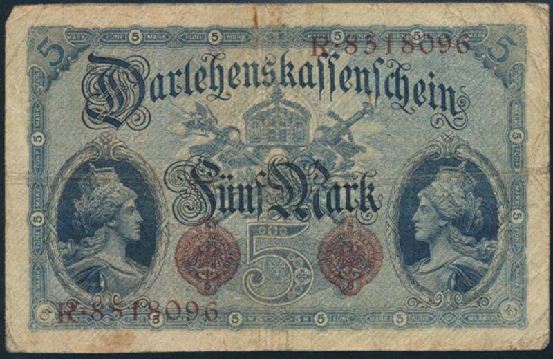 Geldschein Banknote 5 Mark Ro: 48b 05.08.1914