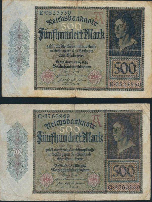 2x Geldscheine Banknoten 500 Mark IV. 27.03.1922