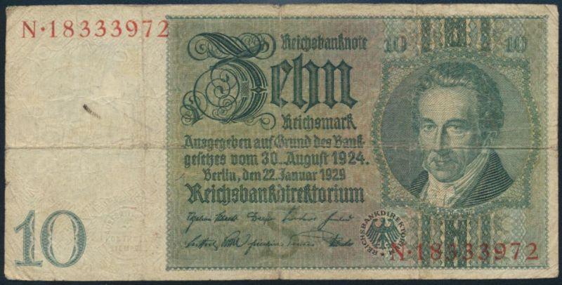 Deutsches Reich Geldschein Reichsbanknote 10 Mark Ro 173 1929