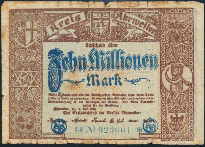 Geldschein Banknote 10 Millionen Mark Kreis Ahrweiler IV