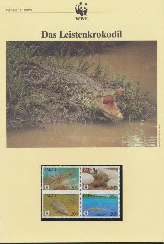 WWF Palau 690-693 Tiere Das Leistenkrokodil kpl. Kapitel bestehend aus