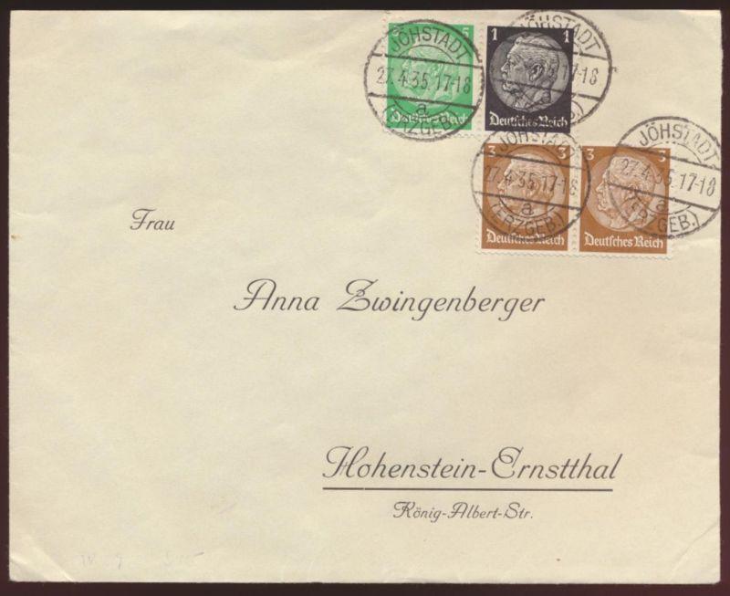Reich Zusammendruck Hindenburg W 59 u.a. Jöhstadt Erzgebirge Hohenstein Ernst -