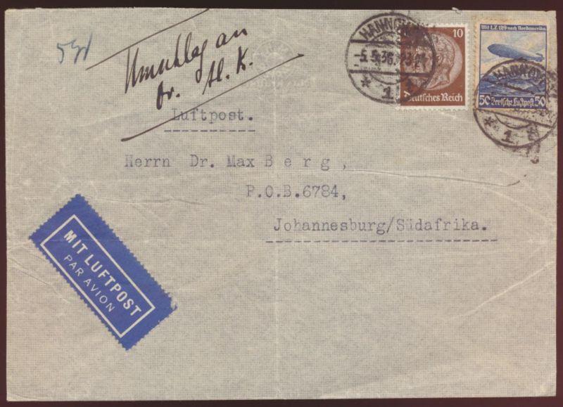 Flugpost Eilboten airmail letter Brief Reich Zeppelin Hindenburg LZ 129 Südafrik
