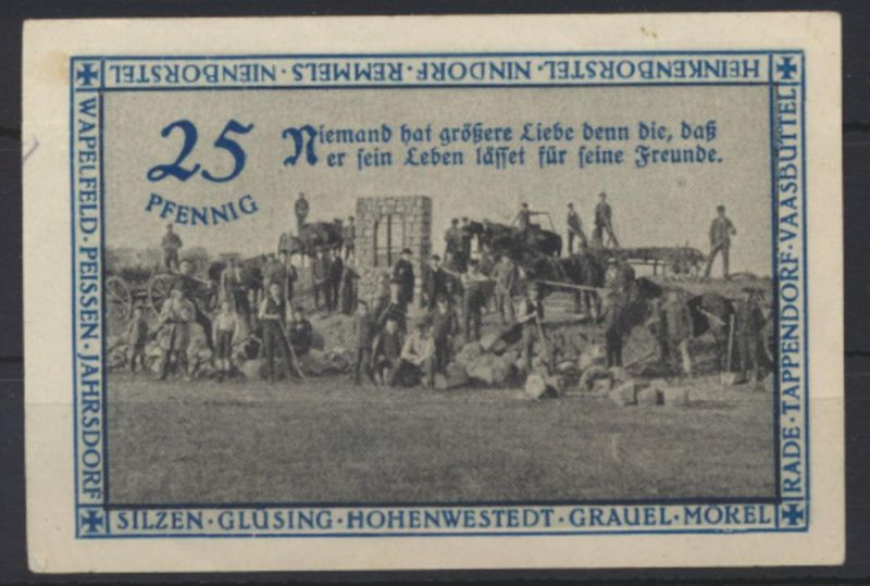 Geldschein Banknote Notgeld HOHENWESTEDT Schleswig 50 Pf Ehrenmal Kirchenspiels