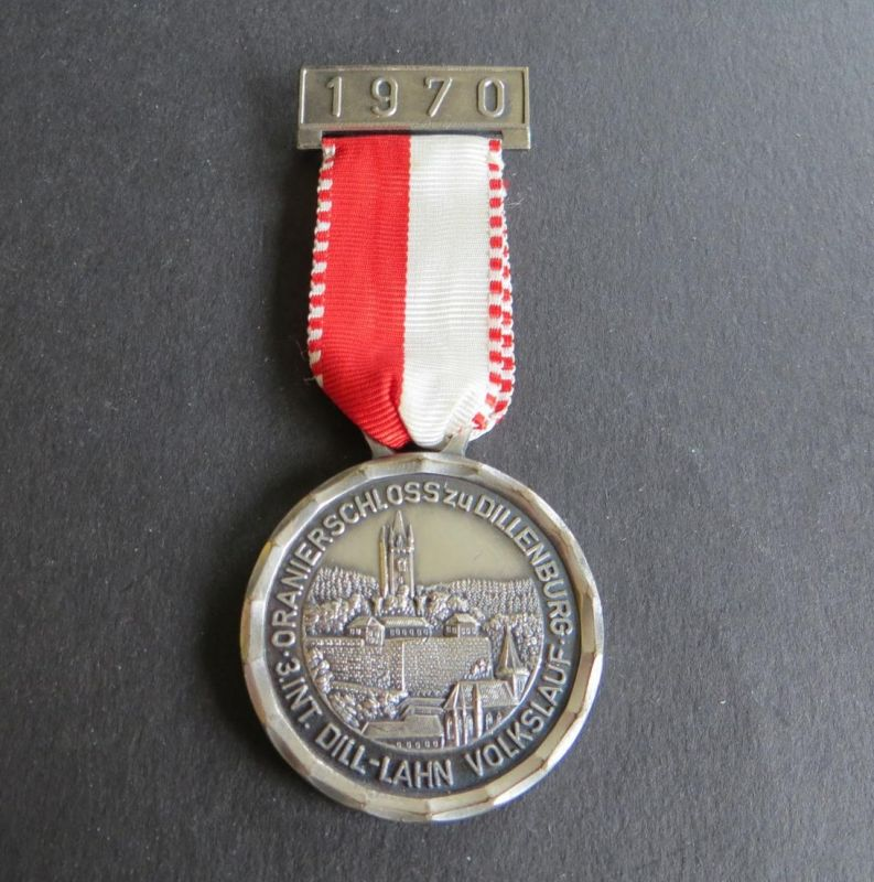 Medaille 3.Internationaler Dill-Lahn Volkslauf Oranierschloss zu Dillenburg 1970