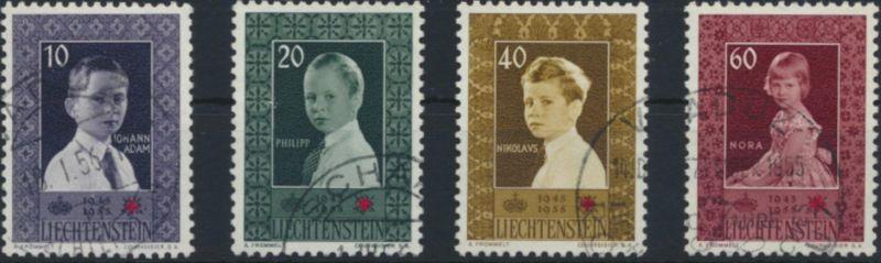 Liechtenstein 338-341 gestempelt  Rotes kreuz Fürstenkinder