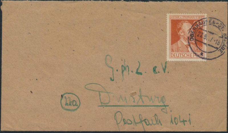 Besetzung Brief 963 a Oberhausen - Sterkrade nach Duisburg 22.5.1947