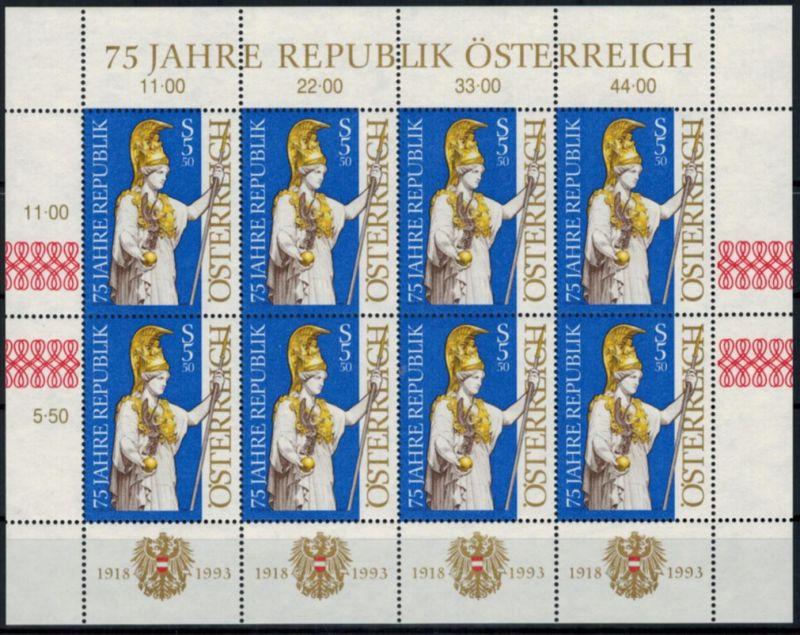 Österreich Kleinbogen 75 Jahre Republik 2113 postfrisch 1993 Kat.-Wert 8,00