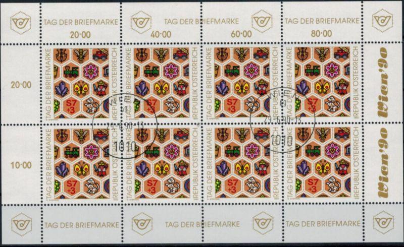 Österreich Kleinbogen 1990 Tag der Briefmarke gestempelt 1990