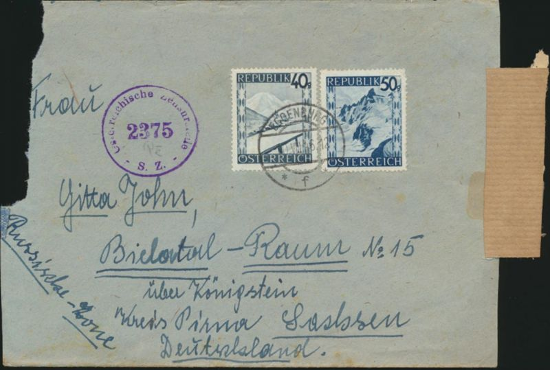 Österreich Brief MIF757+760 Eggenburg nach Bielatal Pirna Österreichische Zensur
