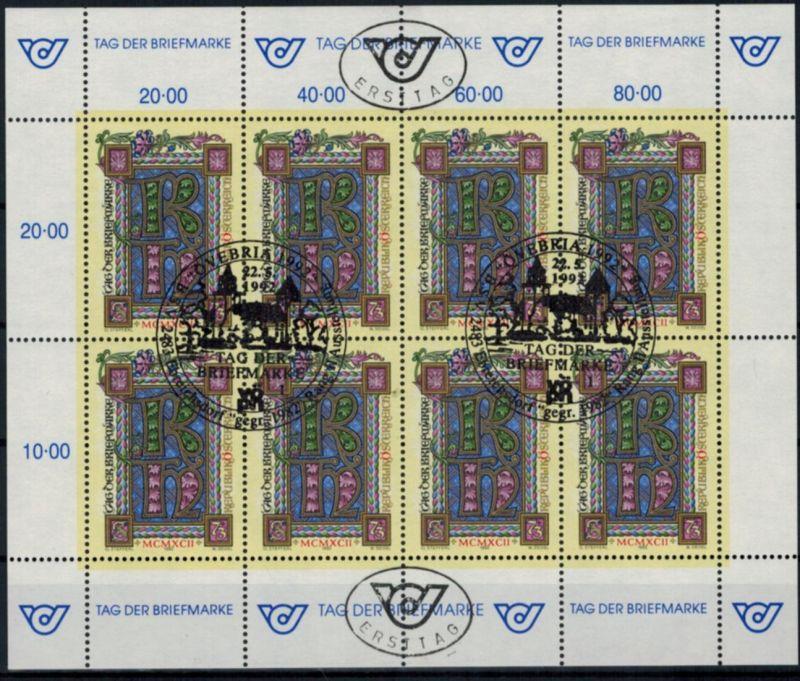 Österreich Kleinbogen 2066 Tag der Briefmarke Philatelie 1992 gestempelt