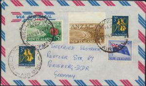 Neusseeland Brief Luftpost MIF 396+401+437-438 Flagge Wellington nach Perleberg
