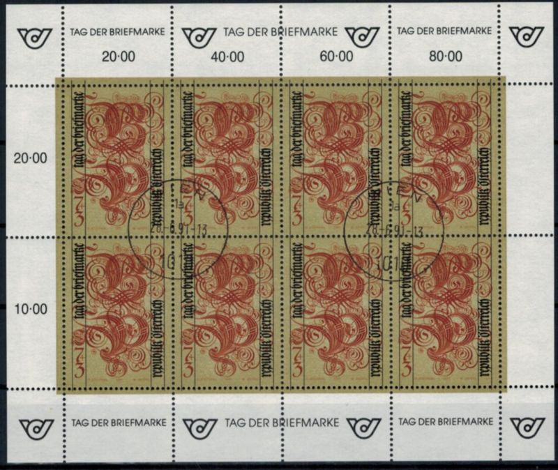 Österreich Kleinbogen 2032 Tag der Briefmarke gestempelt 1991