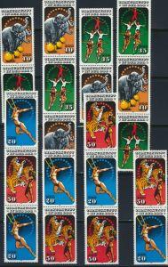 DDR Zusammendrucke 2983-2986 W ZD 645- S ZD 299 postfrisch Zirkus komplett 95,00