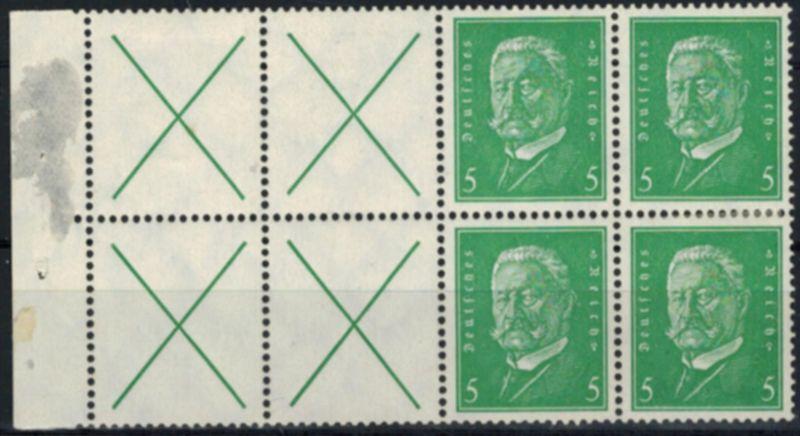 Deutsches Reich Heftchenblatt 57 B Hindenburg rechts fehlt Marke ungebraucht