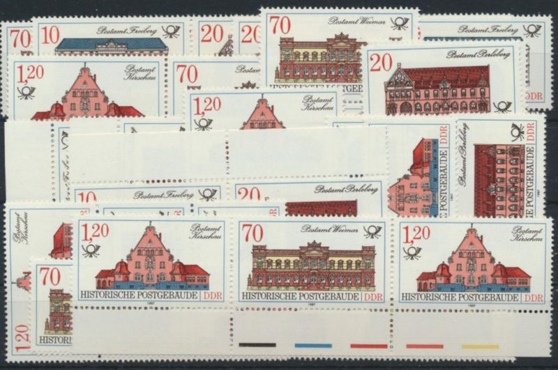 DDR 3067-70 Postgebäude kpl.16 Zusammendrucke incl.1x  Plattenfehler 3069 I 57,-