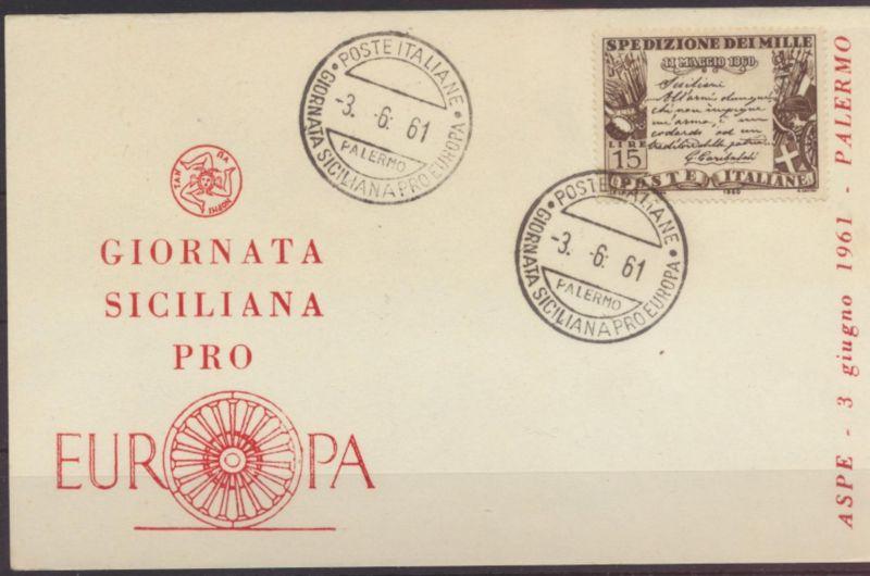 Italien Sonderkarte Gionata Siciliana pro Europa Italy 3.6.1961