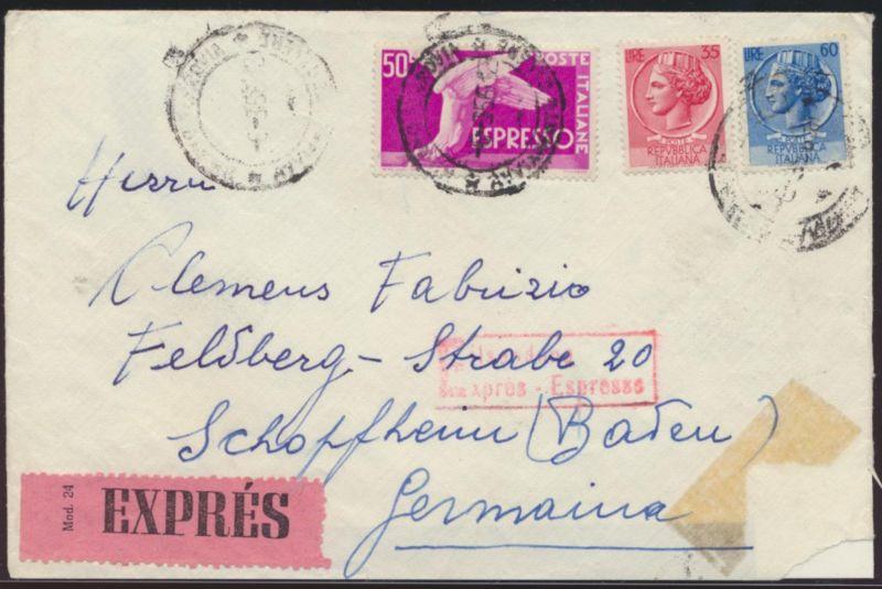 Italien Express Brief Bahnpost Basel Zell nach Schopheim 1956