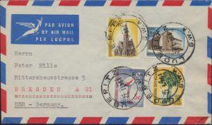 Brief Namibia Südwestafrika Luftpost MIF 296+299+303+304 Luderitz nach Dresden