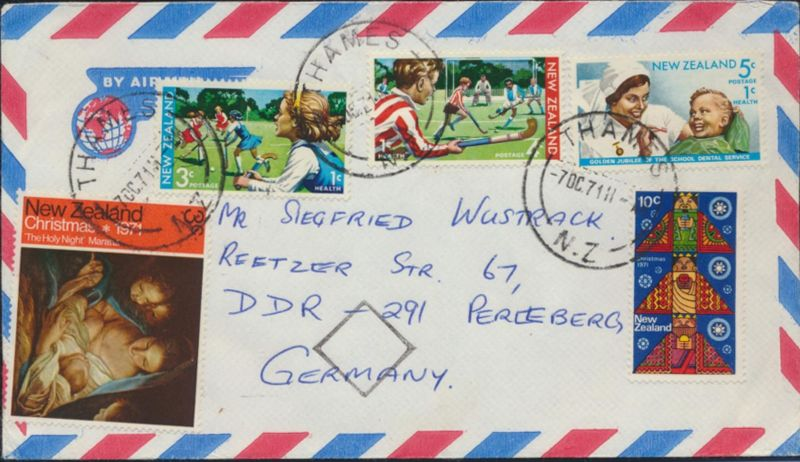 Neusseeland Brief Luftpost MIF 562-565+567 Thames nach Perleberg