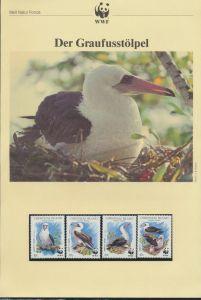 WWF Weihnachtsinsel 303-306 Tiere Vögel Der Graufußtölpel kpl. Kapitel bestehend