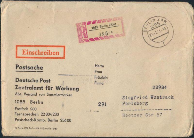 DDR R - Brief Postsache Stempel + R-Zettel Berlin ZAW 1085 nach Perleberg