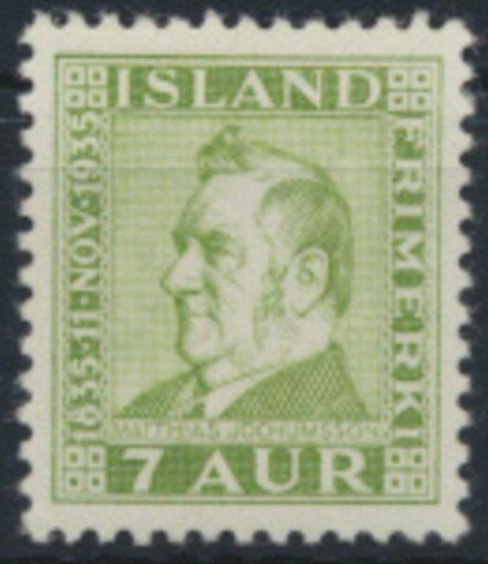 Island 185 sauber ungebraucht - 7 Aurar Matthias Jochumsson